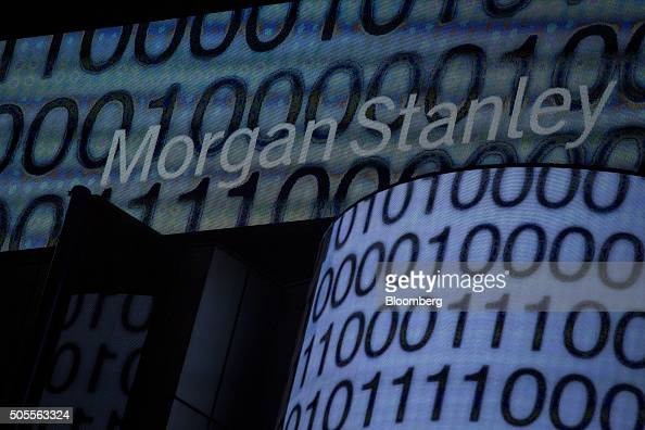 The Morgan Stanley digital sign is seen at the company's Times