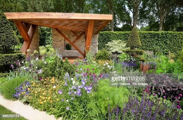 The Morgan Stanley garden ready before the world famous RHS Chelsea Flower Show in London before the event opens to the public on Tuesday