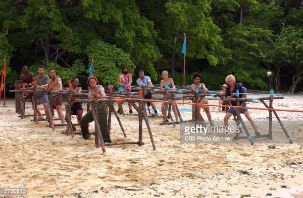 The Morgan Tribe and the Drake tribe compete during the Immunity Challenge on the television series 'SurvivorPearl Islands' 2003