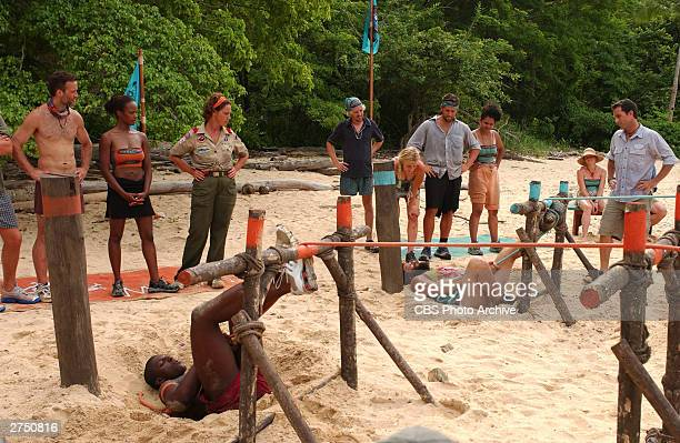 The Morgan tribe and the Drake Tribe compete in the Immunity Challenge as host Jeff Probst observes on the television series 'SurvivorPearl Islands'...