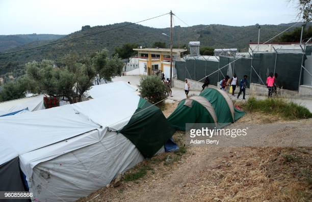 The Moria refugee camp is seen on May 20 2018 in Mytilene Greece Despite being built to hold only 2500 people the camp on the Greek island of Lesbos...