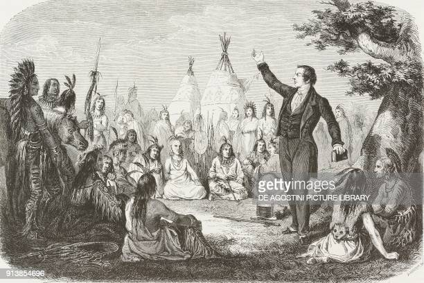 The Mormon prophet Joseph Smith preaches to Native Americans United States of America from The City of the Saints Among the Mormons and Across the...