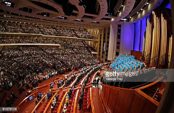 The Mormon Tabernacle Choir and the congregation sing a rest hymn in the Conference Center during the 179th Semi-Annual General Conference of the...
