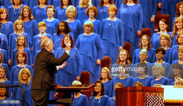 The Mormon Tabernacle Choir of the Church of Jesus Christ of LatterDay Saints sings during the 185th Semiannual General Conference of the Mormon...