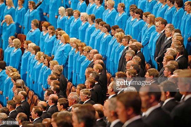 The Mormon Tabernacle Choir sing a hymn during the 179th Semi-Annual General Conference of the church October 3, 2009 in Salt Lake City, Utah....