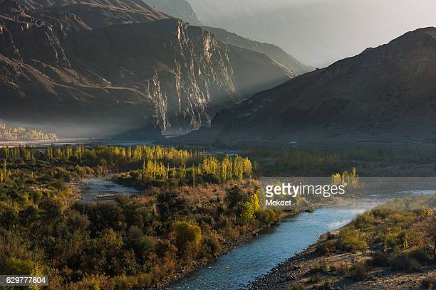 the morning landscape at gakuch, the valley in gilgit-baltistan, karakoram highway, pakistan - hunza valley stock pictures, royalty-free photos & images