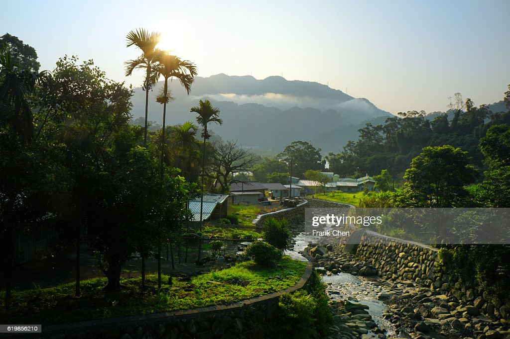 The morning light in Xindian river : Stock Photo