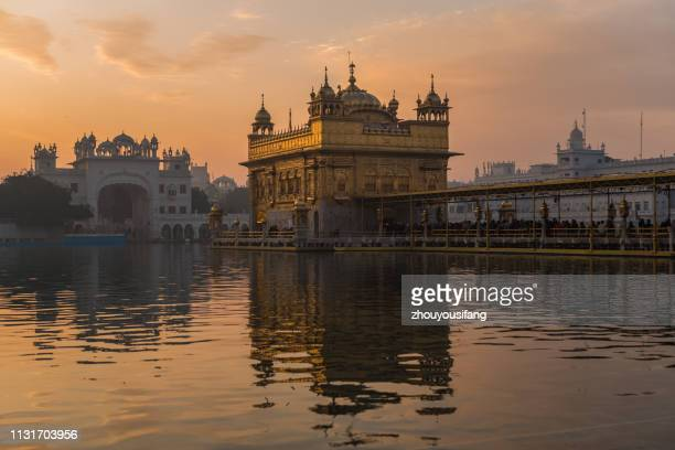 the morning of golden temple of amritsar, india - amritsar stock photos and pictures