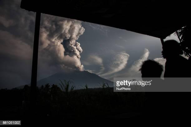 The morning of Mount Agung eruption was seen at Muncan Village on 28 November 2017 in Karangasem regency Bali Indonesia Great volcanic activity in...