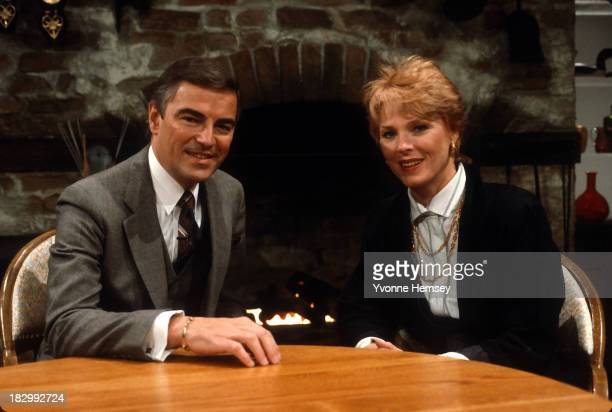 CBS 'The Morning Show's hosts Rolland Smith and Mariette Hartley are photographed January 14 1987 on the set of the show in New York City