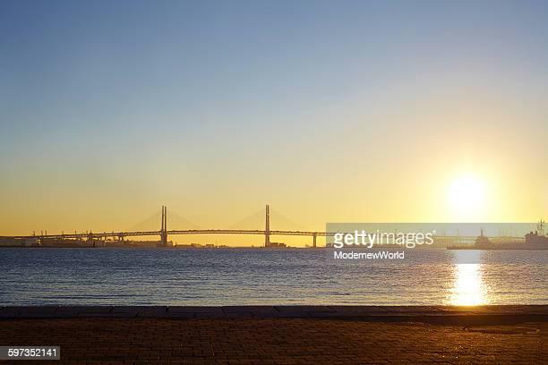 The morning sun of Yokohama Port