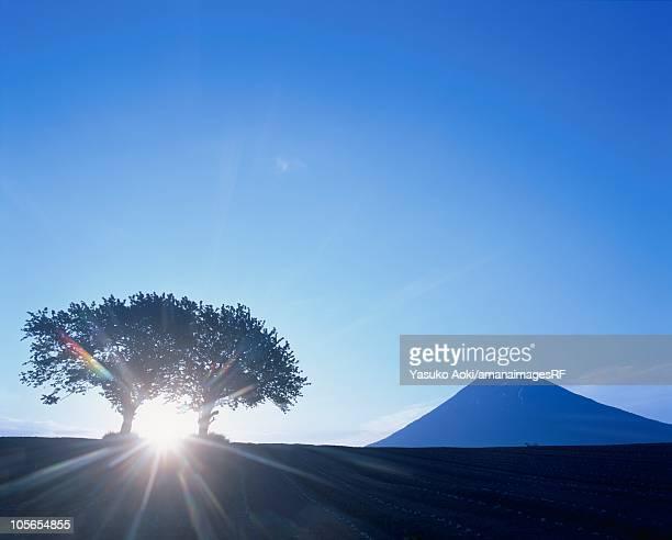 The Morning Sun Rising Over Mount Yotei. Hokkaido, Japan
