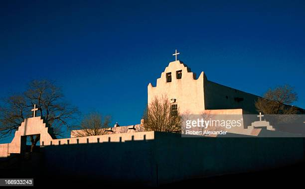 The morning sun shines on San Jose Mission a Catholic church on the NativeAmerican Laguna Pueblo west of Albuquerque New Mexico The church was...