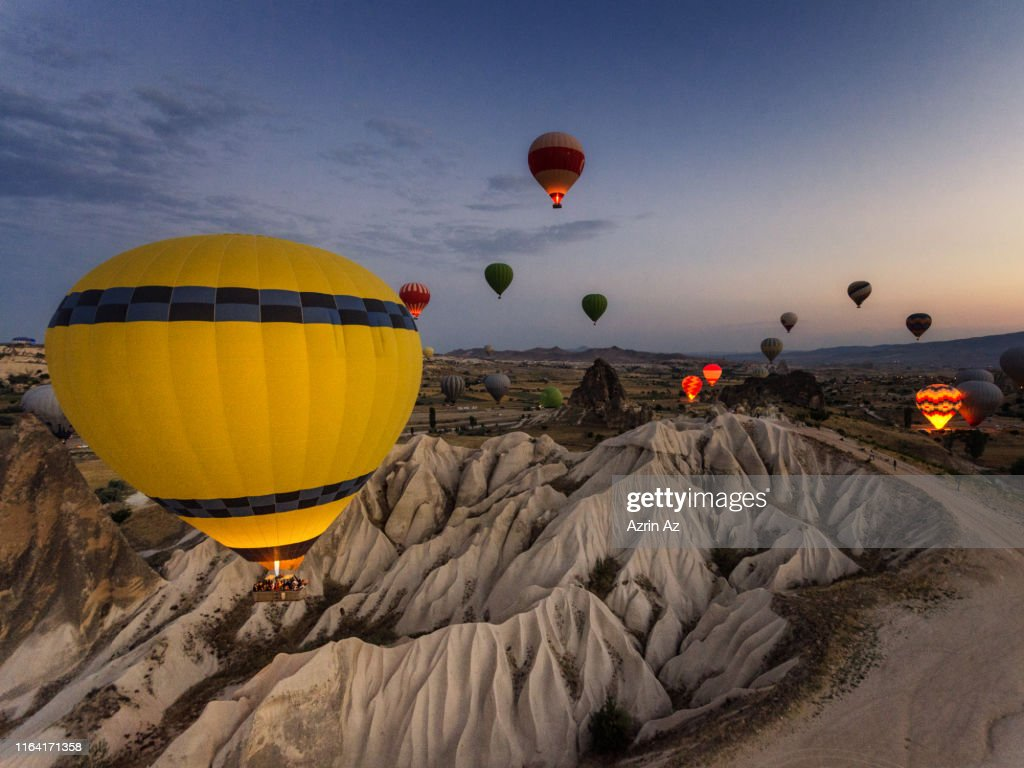 The Morning Sunrise Ballooning in the sky : Stock Photo