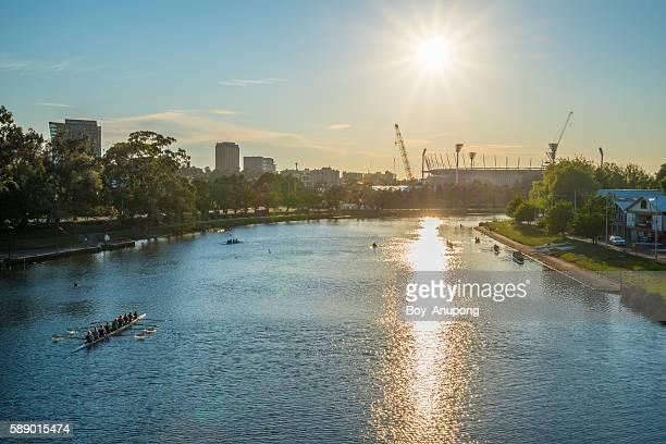 The morning sunrise in Melbourne, Australia.