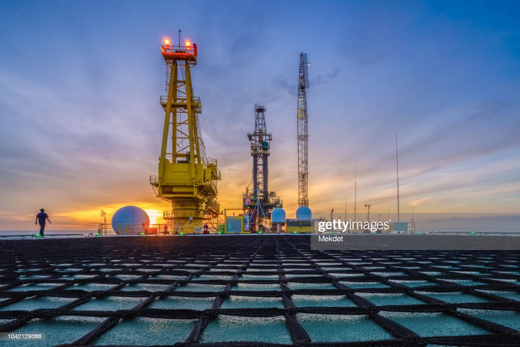 The morning view of oil drilling rig (Tender assisted rig type) in Gulf of Thailand : Stock Photo