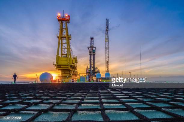 The morning view of oil drilling rig (Tender assisted rig type) in Gulf of Thailand