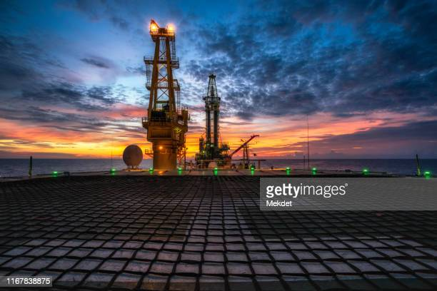 the morning view of oil drilling rig (tender assisted rig type) in gulf of thailand - construction platform stock pictures, royalty-free photos & images
