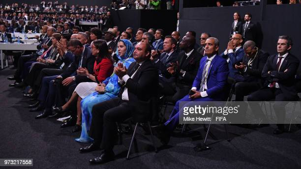 The Moroccan delegation sportingly applauds the awarding of the FIFA World Cup 2026 to the United bid of USA Mexico and Canada during the FIFA...