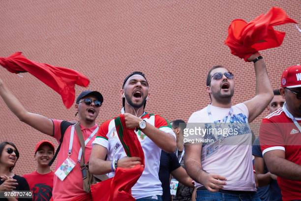 The Moroccan football fans cheer at the Red Square on June 19 2018 in Moscow Russia