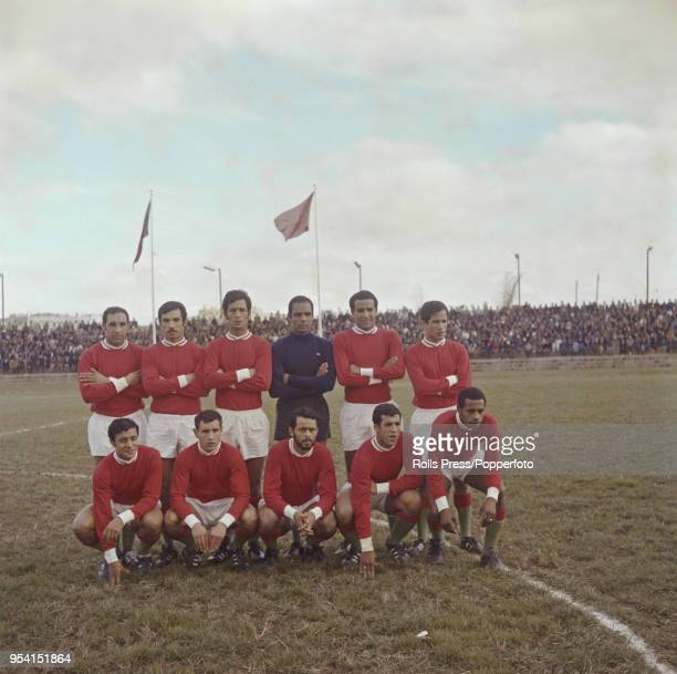 The Morocco national football team line up on the pitch in Casablanca Morocco prior to playing in a 1970 FIFA World Cup qualification match circa...