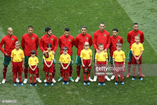 The Morocco players line up for the national anthem prior to the 2018 FIFA World Cup Russia group B match between Portugal and Morocco at Luzhniki...