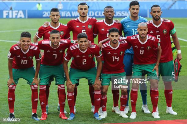 The Morocco team pose for a photo prior to the 2018 FIFA World Cup Russia group B match between Morocco and Iran at Saint Petersburg Stadium on June...