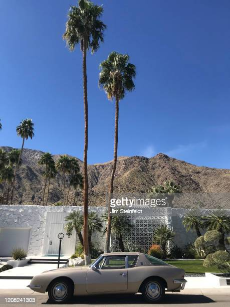 The Morse Home designed by architect Hal Levitt and featuring an Avanti Studebaker in Palm Springs California on February 12 2020