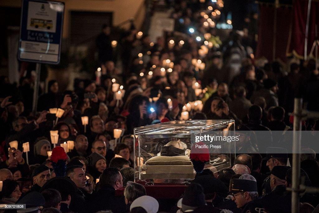The mortal remains of Saint Pio return to Pietrelcina, where... : News Photo