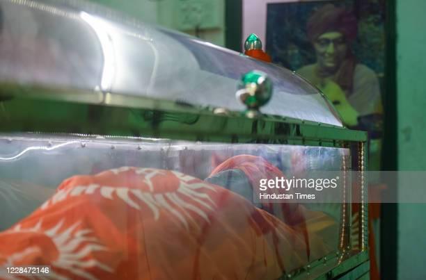 The mortal remains of Social Activist Swami Agnivesh kept at Jantar Mantar on September 12 2020 in New Delhi India Swami Agnivesh died after a...