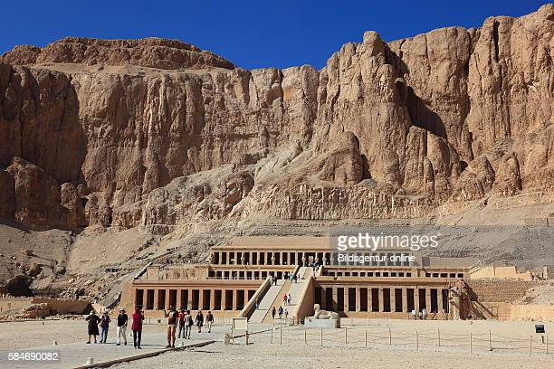 The mortuary temple of the first female Pharaoh Hatshepsut, Hatshepsut temple at Deir el-Bahari on the west bank of the Nile at Thebes, Africa, Egypt.
