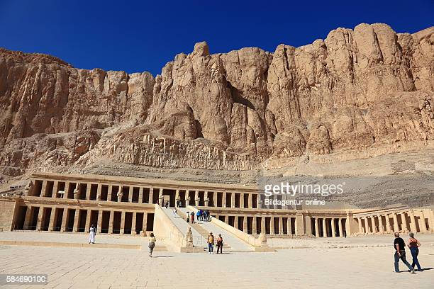 The mortuary temple of the first female Pharaoh Hatshepsut, Part of the Hatshepsut temple complex at Deir el-Bahari on the west bank of the Nile at...