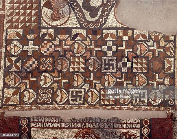 The mosaic floor at the excavated Lullingtone Roman Villa Eynsford Kent 1991 Detail of the geometric panel with various motifs of swastikas and...