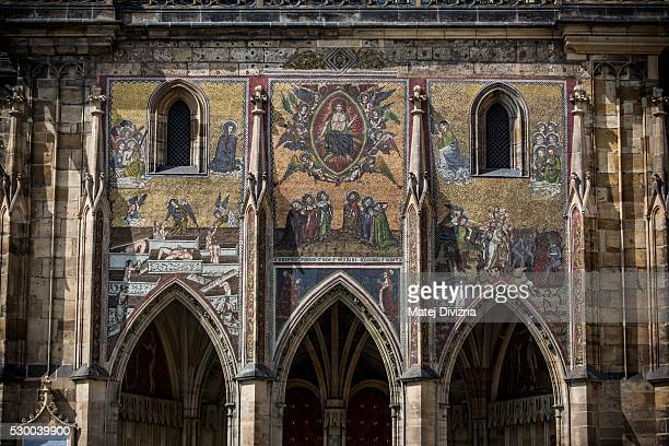 The mosaic of the Last Judgement on the Golden Gate with a surface area of 85m2 is seen on the St Vitus Cathedral on May 9 2016 in Prague Czech...