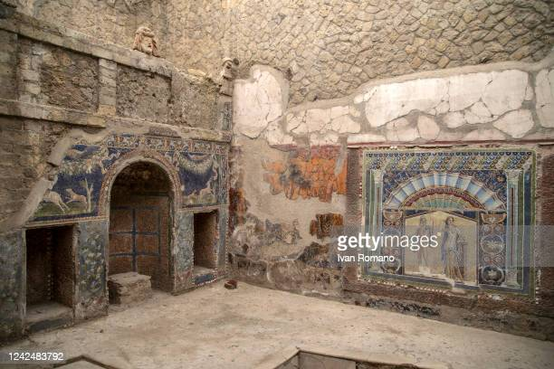 The mosaics inside a domus of the ancient Roman city of Herculaneum destroyed in 79 AD by the eruption of Vesuvius which also affected Pompeii, on...