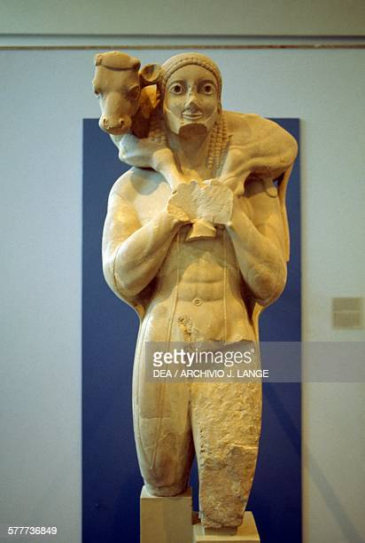The Moschophoros Calfbearer marble votive statue offered to Athena by Rombos ca 570560 BC Greece Greek civilisation 6th century BC Athens Moussío