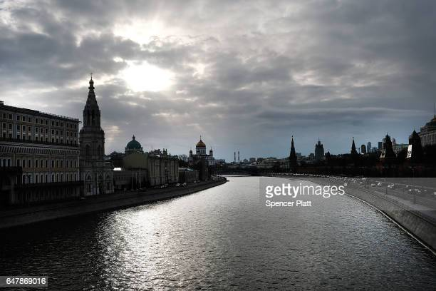 The Moscow River runs past the Kremlin on March 4 2017 in Moscow Russia Relations between the United States and Russia are at their lowest point in...