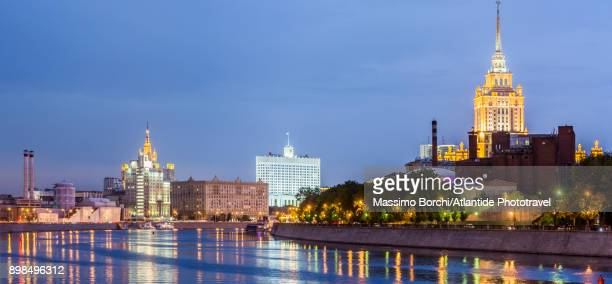 The Moskva River (Moscow river) and Hotel Ukraina building