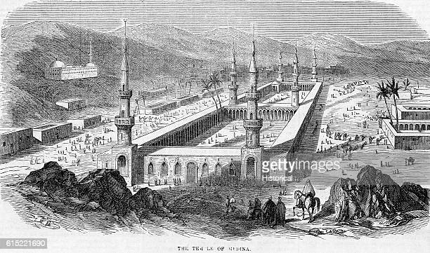 The mosque at Medina supports the tomb of the prophet Muhammad and is a popular pilgrimage site Ca 1854