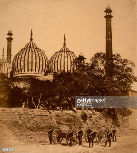 The mosque at the Khynabee Gate Delhi during the uprising against British rule in India