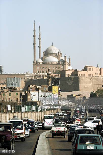 CAIRO EGYPT FEBRUARY 9 The Mosque of Mohammed Ali or Alabaster Mosque is seen on the top of the Citadel on February 9 2006 in Islamic Cairo Egypt The...