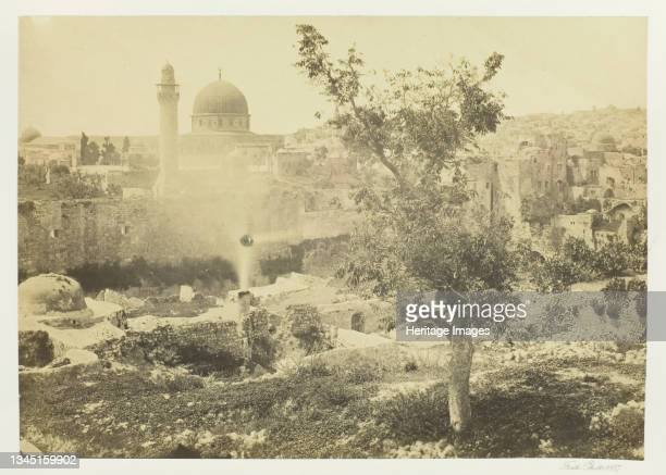 """The Mosque of Omar, Jerusalem, 1857. Albumen print, pl. 4 from the album """"Egypt and Palestine, volume ii"""" . Artist Francis Frith."""