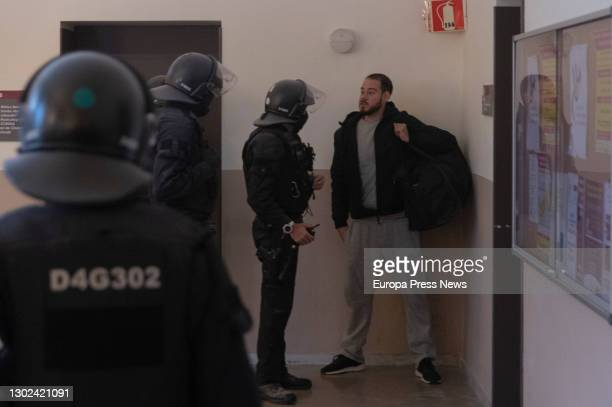 The Mossos arrest Pablo Hasel, on February 16, 2020 in Lleida, Cataluña, Spain. The Mossos d'Esquadra entered the University of Lleida on Tuesday...
