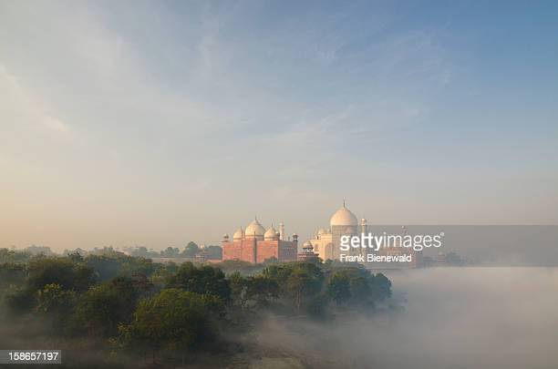 The most beautiful building of the world the Taj Mahal arising out of the fog over river Yamuna in the first light of the new day