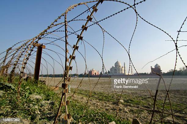 The most beautiful building of the world the Taj Mahal for security reasons fenced by barbed wire