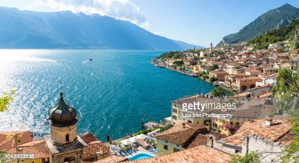 the most beautiful town in lake garda - limone sul garda - lago di garda foto e immagini stock
