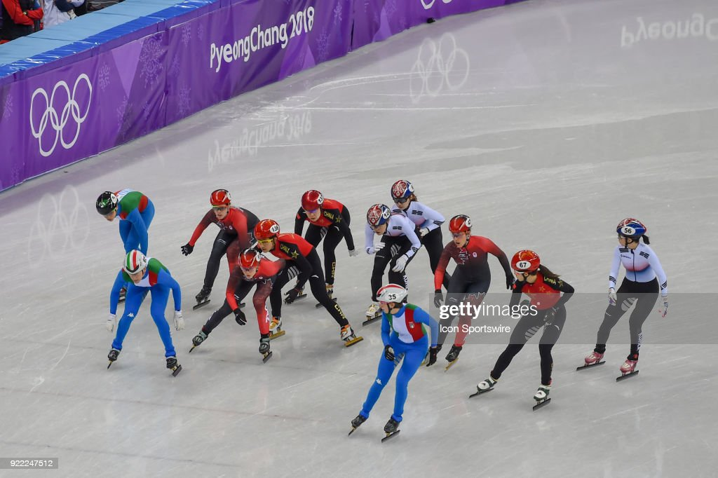 The most exciting race of the night was packed with action with Republic of Korea eventually winning the Ladies' 3,000M Relay Final A race during the 2018 Winter Olympic Games at the Gangneung Ice Arena on February 20, 2018 in PyeongChang, South Korea.