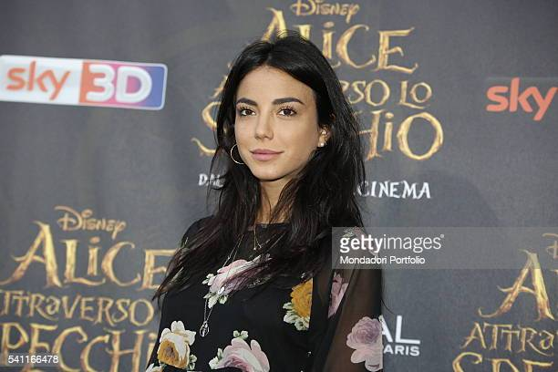 The most famous web fashion blogger Chiara Biasi posing on the red carpet at the national premiere of the film Alice Through the Looking Glass staged...