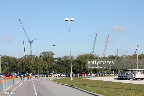 The most noticeable construction on the new Avatarinspired area at Disney's Animal Kingdom in Orlando Fla is seen from the parking lot on June 16 as...