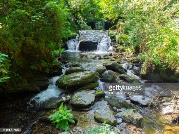 The most photographed view at Watersmeet, Waterfalls on the Hoar Oak Water river at Watersmeet, near Lynton, Exmoor, Devon, UK .